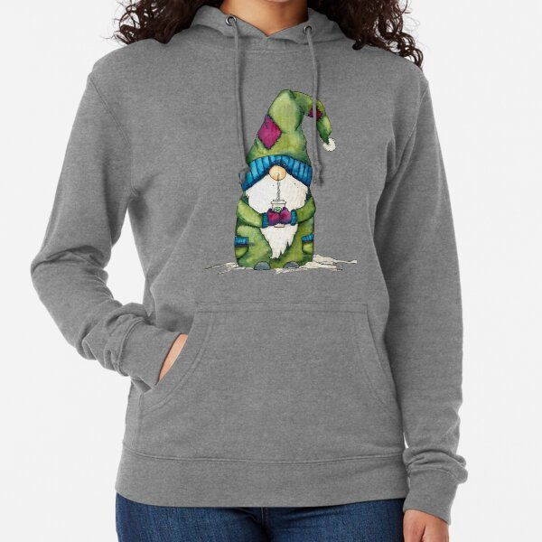 Little Gnome With Coffee Lightweight Hoodie