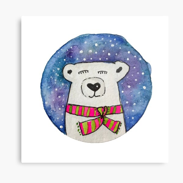 Winter Polar Bear Metal Print