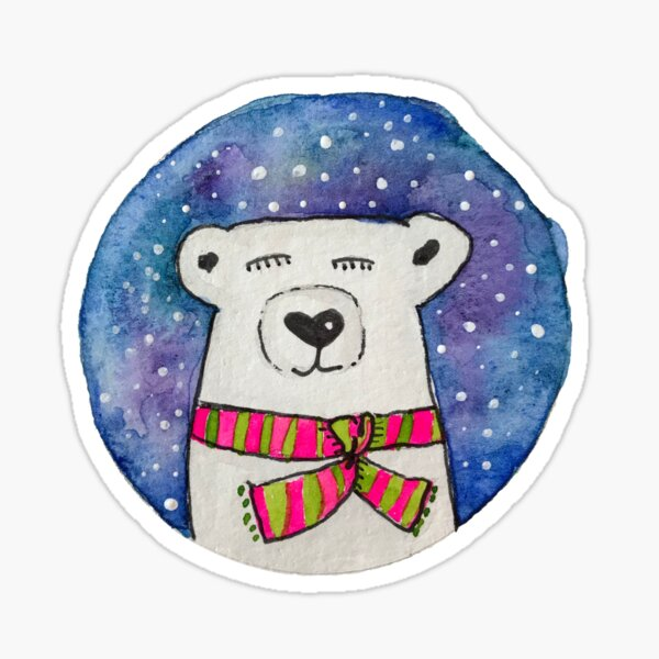 Winter Polar Bear Sticker