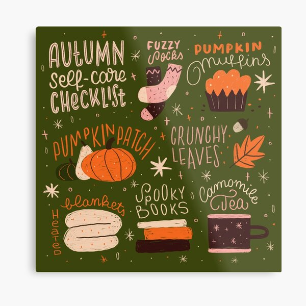 Autumn Self-care Checklist Metal Print
