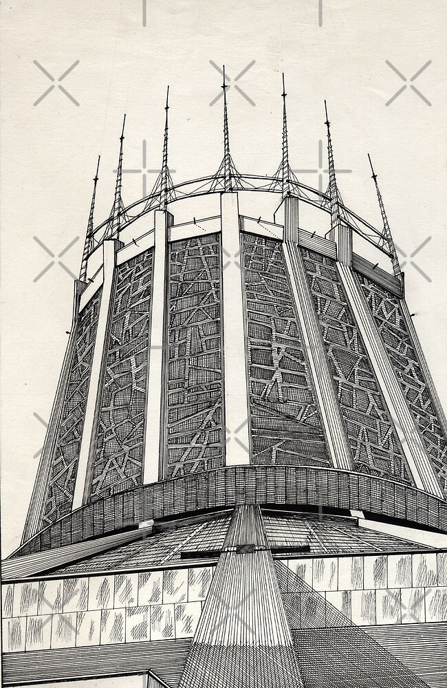 112 - R. C. CATHEDRAL OF LIVERPOOL - DAVE EDWARDS - INK - 1985 by BLYTHART
