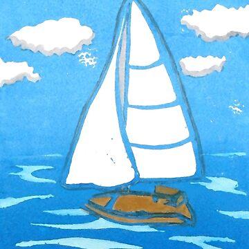 Sailboat Printmaking Art by AbigailDavidson