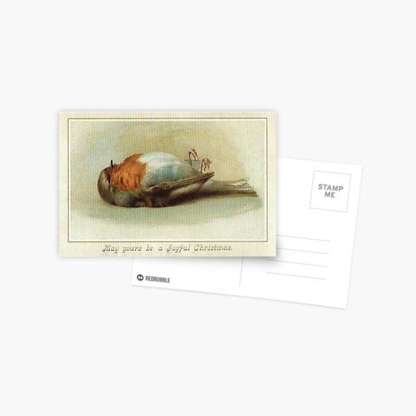 Victorian Dead Bird Christmas Postcard