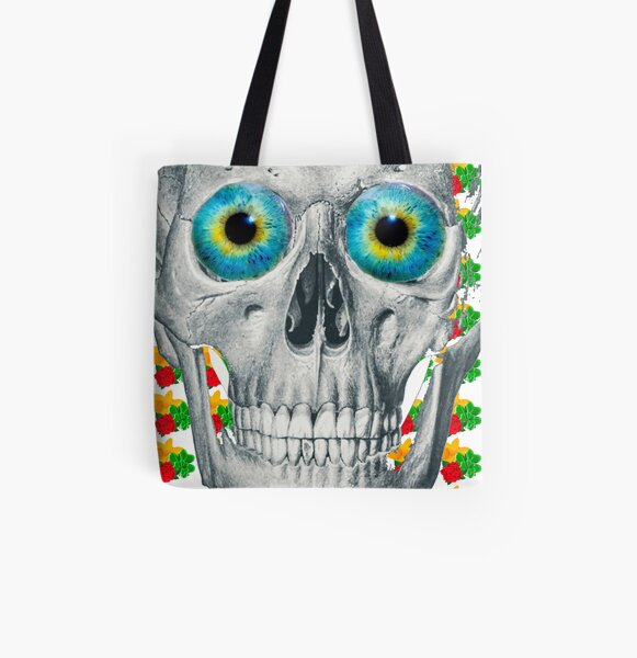 Blue eyed skull flower lover  All Over Print Tote Bag