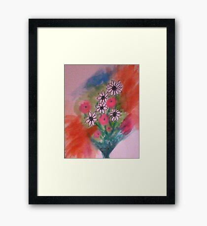 Let My Flowers Bring Back That Smile!   watercolor Framed Print