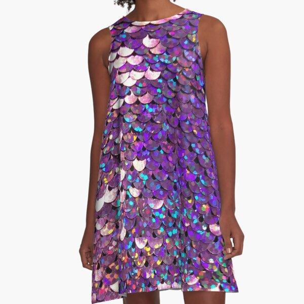 Brilliant Purple Sequins A-Line Dress