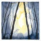 Watercolor Misty Grey Woods by Magdalena Żołnierowicz