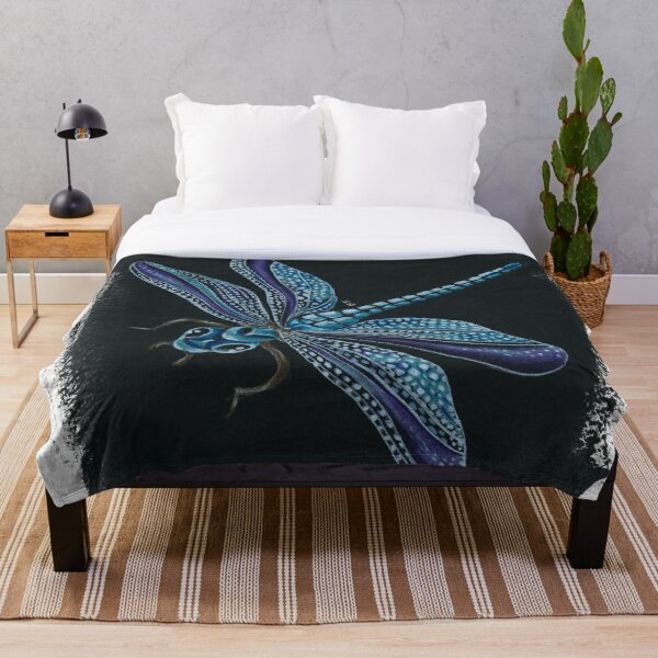 Dragonfly Magic Colored Pencil Art  Throw Blanket