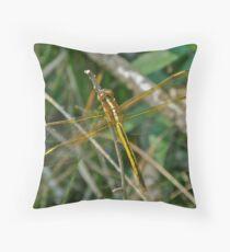 Golden Dragonfly - Anisoptera Throw Pillow