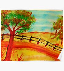 Old  Fence by the Road, watercolor Poster