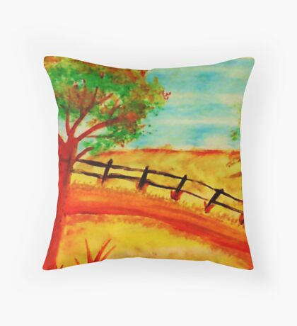 Old  Fence by the Road, watercolor Throw Pillow