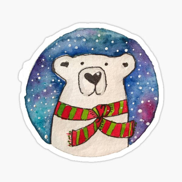 Holly Jolly Polar Bear Sticker