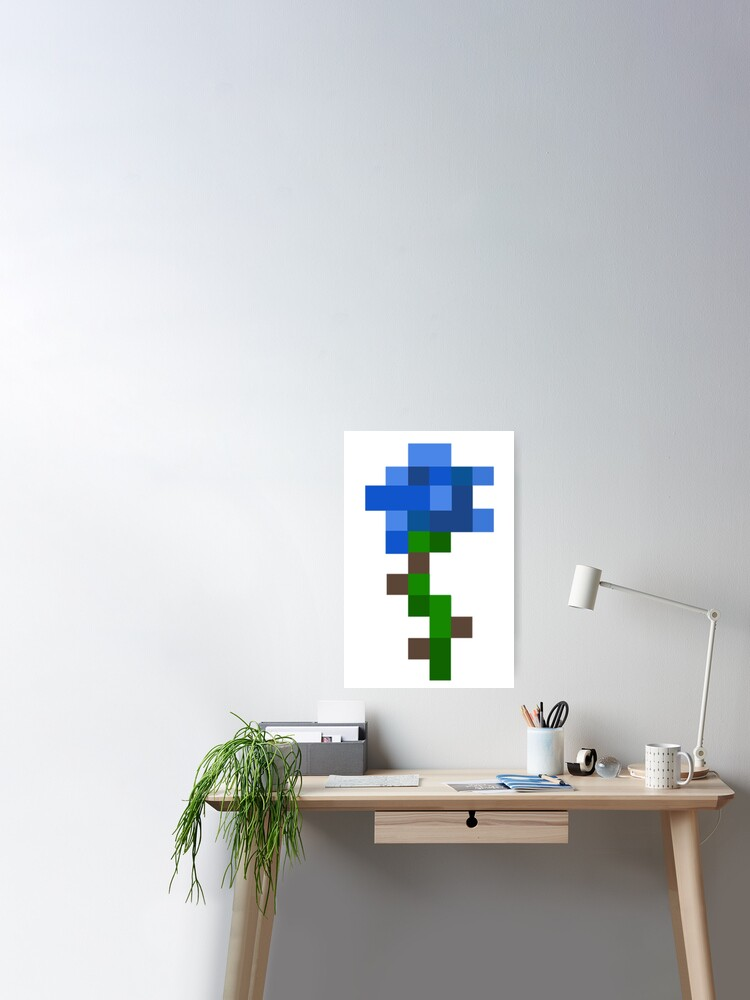 Blue Aesthetic Minecraft Rose Poster By Tumblestwo Redbubble