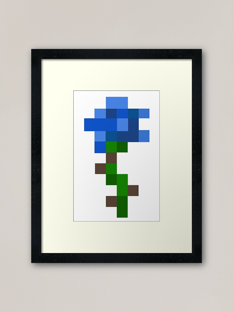 Blue Aesthetic Minecraft Rose Framed Art Print By Tumblestwo