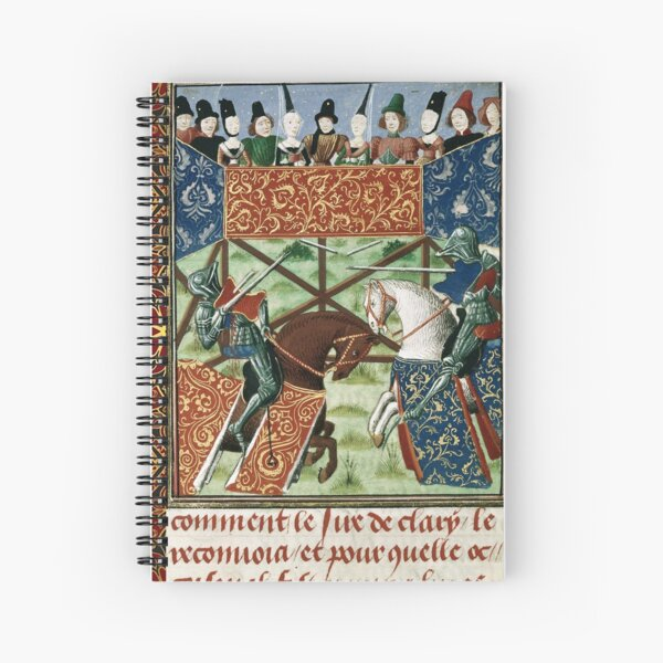 MEDIEVAL TOURNAMENT, FIGHTING KNIGHTS ,DAMSELS RED YELLOW FLORAL Spiral Notebook