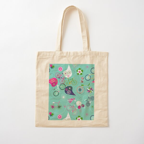 Cycledelic Teal Cotton Tote Bag