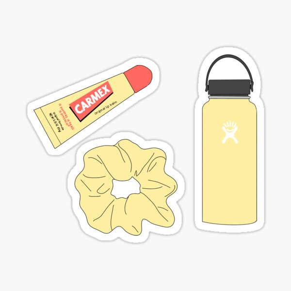VSCO girl scrunchie hydroflask Carmex cute yellow Sticker