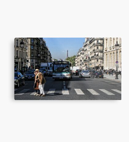 Crossing the road Metal Print