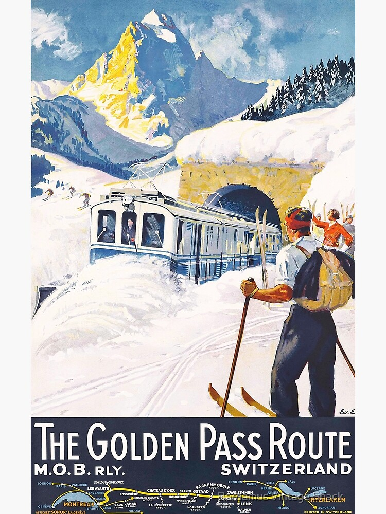 The Golden Pass - Vintage Ski Poster by SamKovac