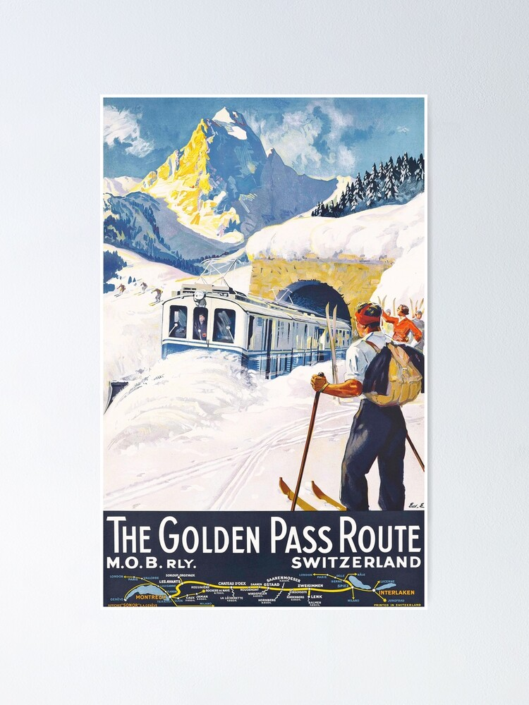 Alternate view of The Golden Pass - Vintage Ski Poster Poster