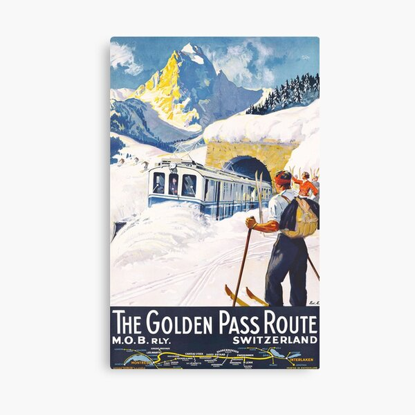 The Golden Pass - Vintage Ski Poster Canvas Print