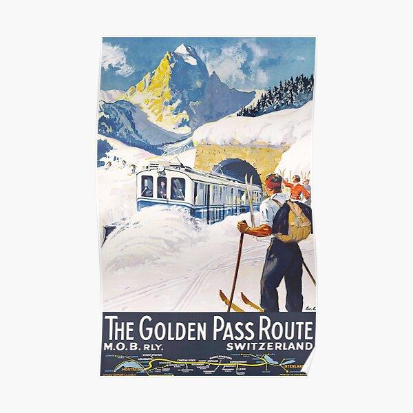 The Golden Pass - Vintage Ski Poster Poster