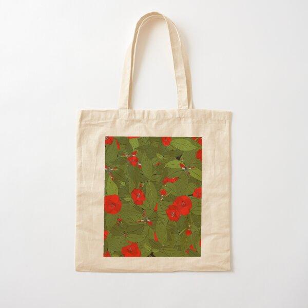 Camellia - red Cotton Tote Bag