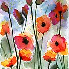 Poppy Flowers Watercolor - Orange and Red by aliciahayesart