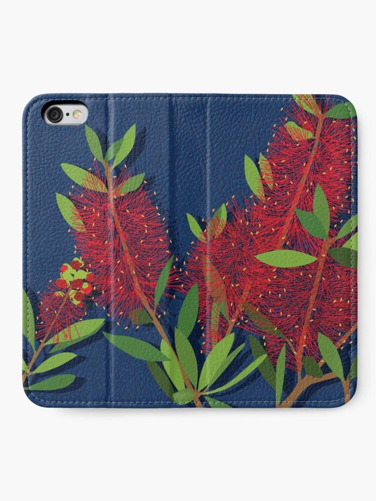 Alternate view of Red Bottlebrush Flowers iPhone Wallet