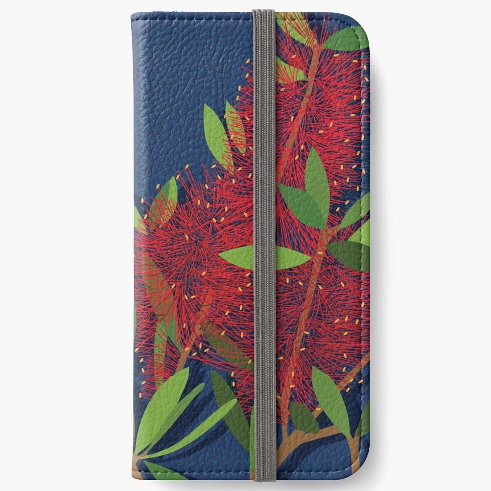 Red Bottlebrush Flowers iPhone Wallet