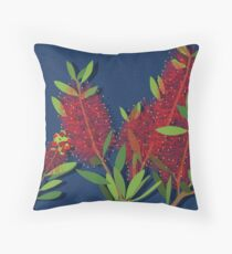 Red Bottlebrush Flowers Floor Pillow