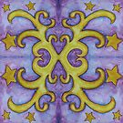 Stars and Swirls Watercolor - Purple and Gold by aliciahayesart