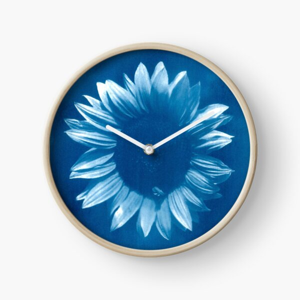 Sunflower In Blue Clock