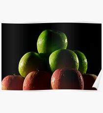 Apples red and green with low key lighting. Poster