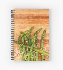 Grilled asparagus and parmesan cheese. Spiral Notebook