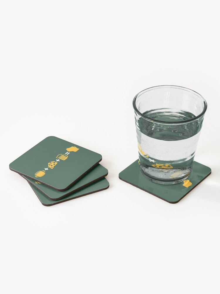 Alternate view of Wisconsin Math - Green 1 Coasters (Set of 4)