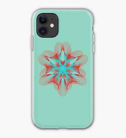 Spirograph with red and blue iPhone Case