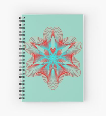 Spirograph with red and blue Spiral Notebook