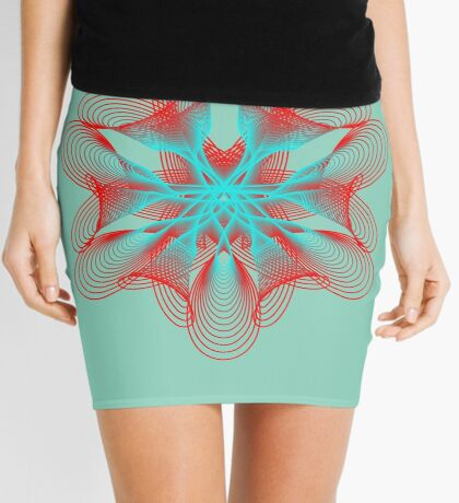 Spirograph with red and blue Mini Skirt