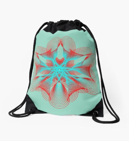 Spirograph with red and blue Drawstring Bag