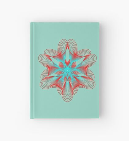 Spirograph with red and blue Hardcover Journal