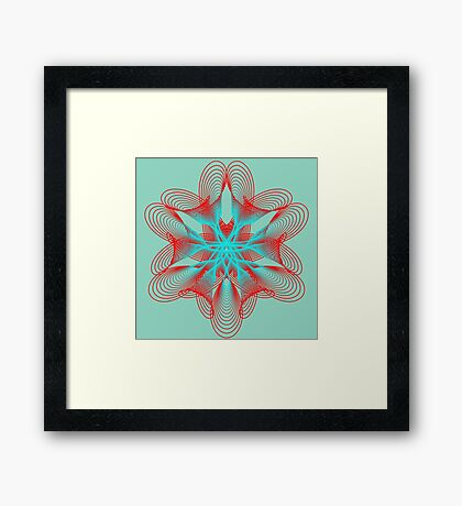 Spirograph with red and blue Framed Print