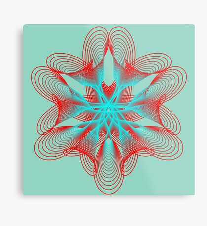 Spirograph with red and blue Metal Print