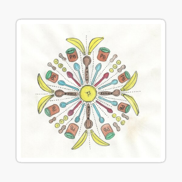 Banana Mush Mandala #1 Sticker