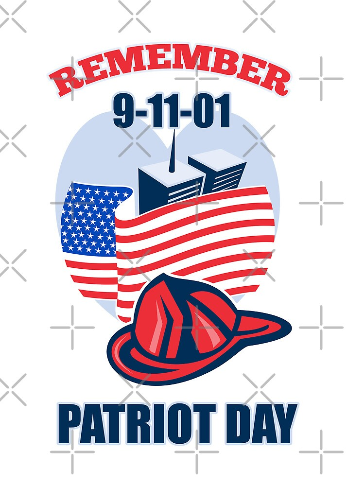 9-11 Patriot day Firefighter Fireman American Flag  by patrimonio