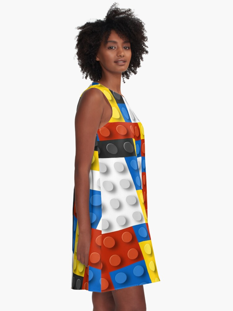Alternate view of Mondrian blocks De Stijl Modern Art A-Line Dress