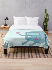 Bmo & Butterfly (Adventure Time) Throw Blanket