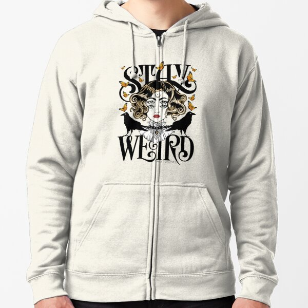 Rose and The Ravens {Stay Weird} Colour Version Zipped Hoodie