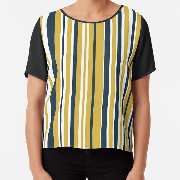 Mustard Yellow Navy Blue and White Stripes Minimalist Color Block Pattern Chiffon Top