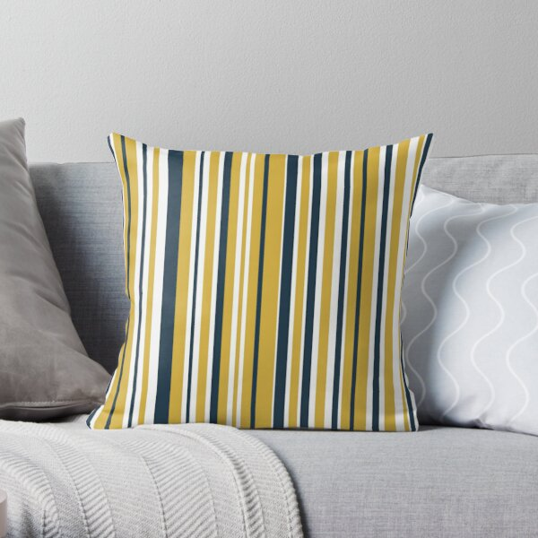 Mustard Yellow Navy Blue and White Stripes Minimalist Color Block Pattern Throw Pillow